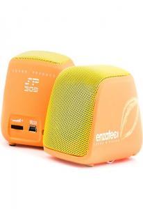Колонки Enzatec SP308OG оранжевые, портативные, 4W x 4W R.M.S, USB, аккум